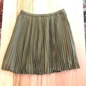 Olive green knee length pleated skirt